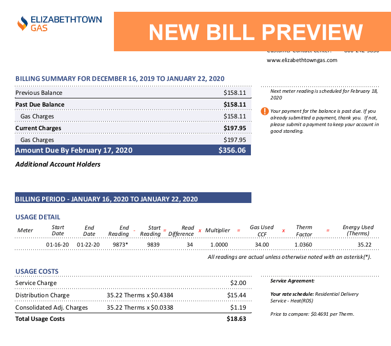 Elizabethtown Gas Bill Preview