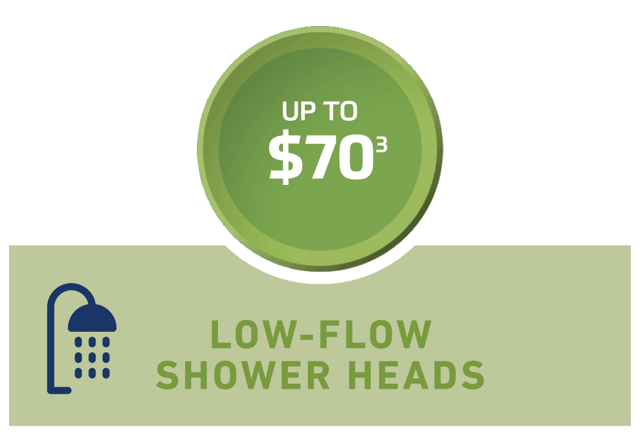 Up to $70 off Low-Flow Shower Heads
